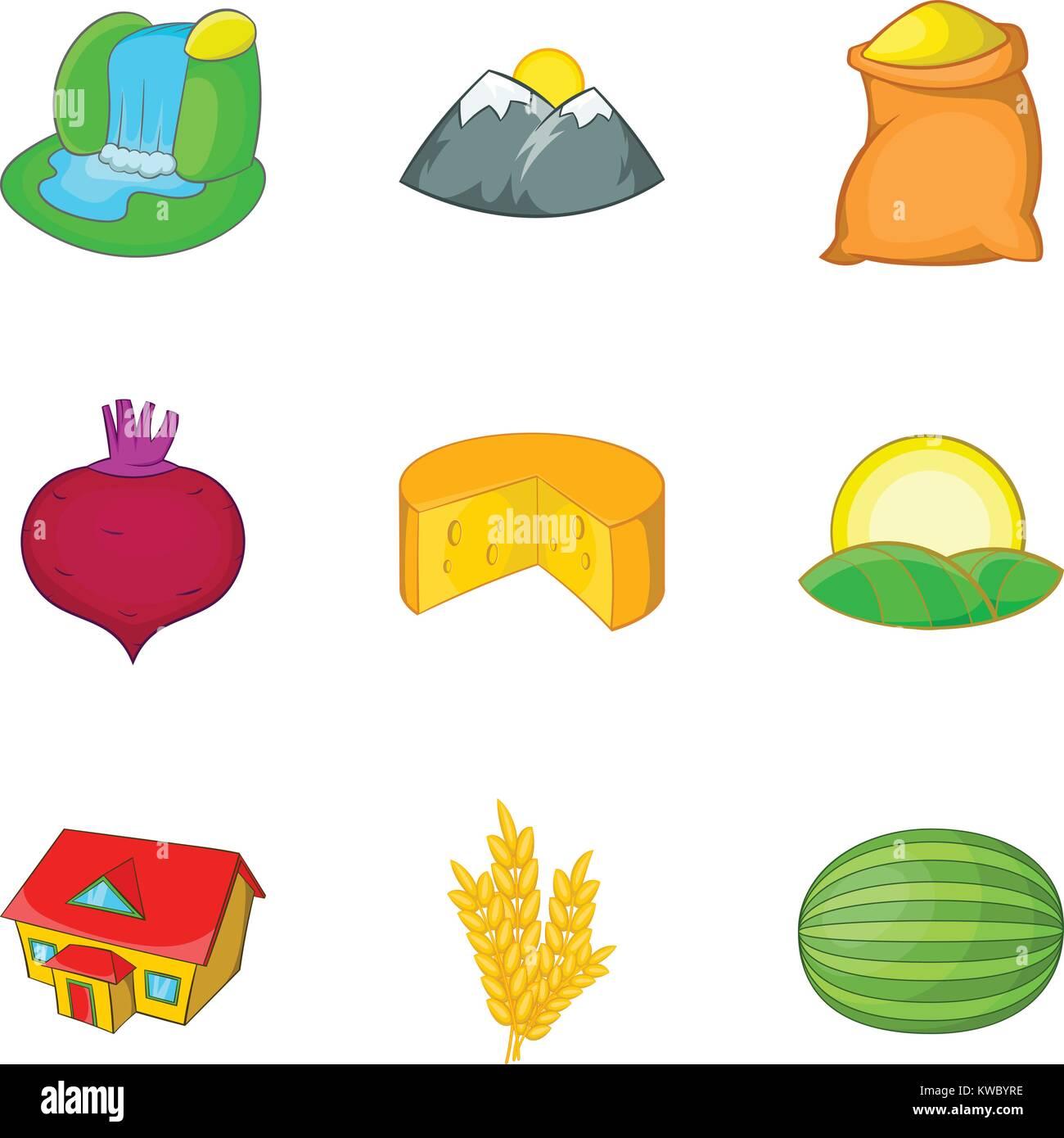 Thorp icons set, cartoon style - Stock Vector