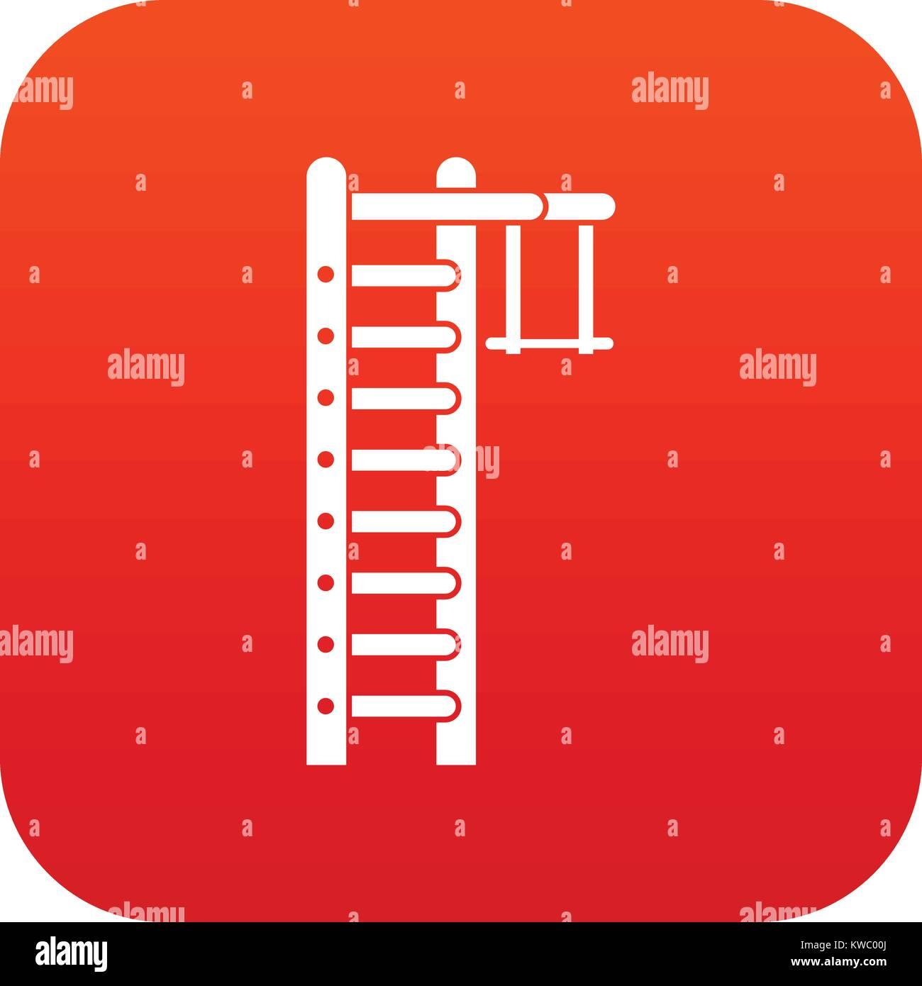 Swedish ladder icon digital red - Stock Image