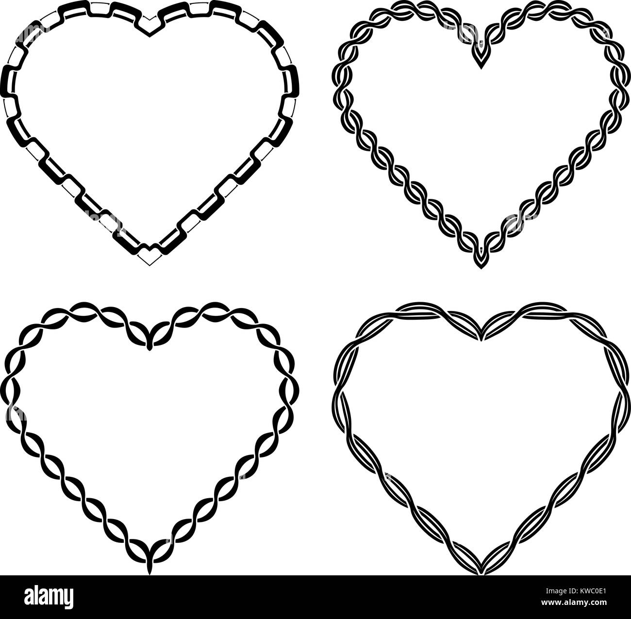 Set of 4 rich decorated ornate heart shaped frames for your design ...