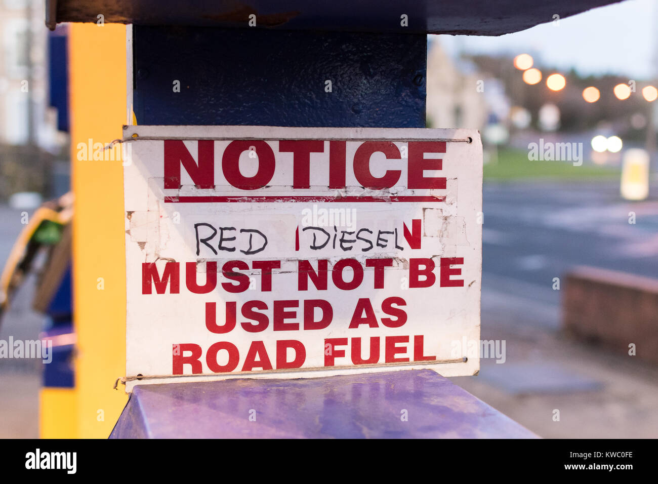 Red Diesel must not be used as road fuel sign at garage in England, UK - Stock Image