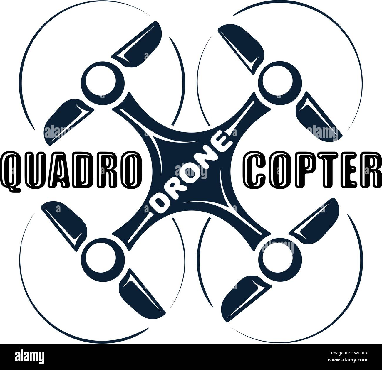 Quadrocopter drone abstract icon for logo or other design - Stock Image
