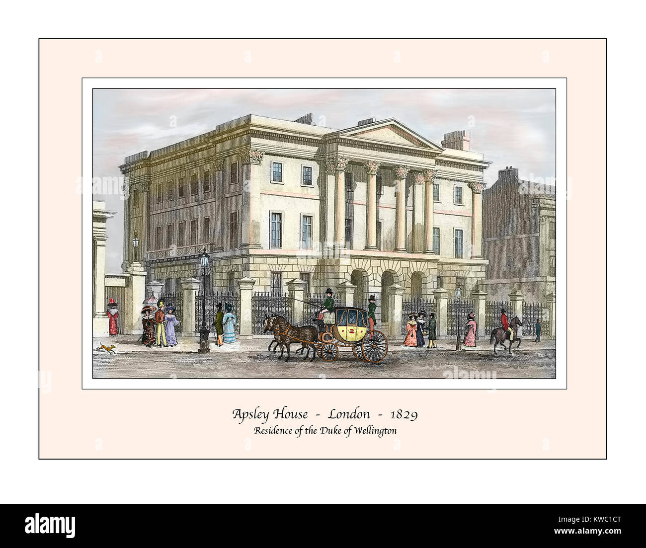 Apsley House London Original Design based on a 19th century Engraving - Stock Image