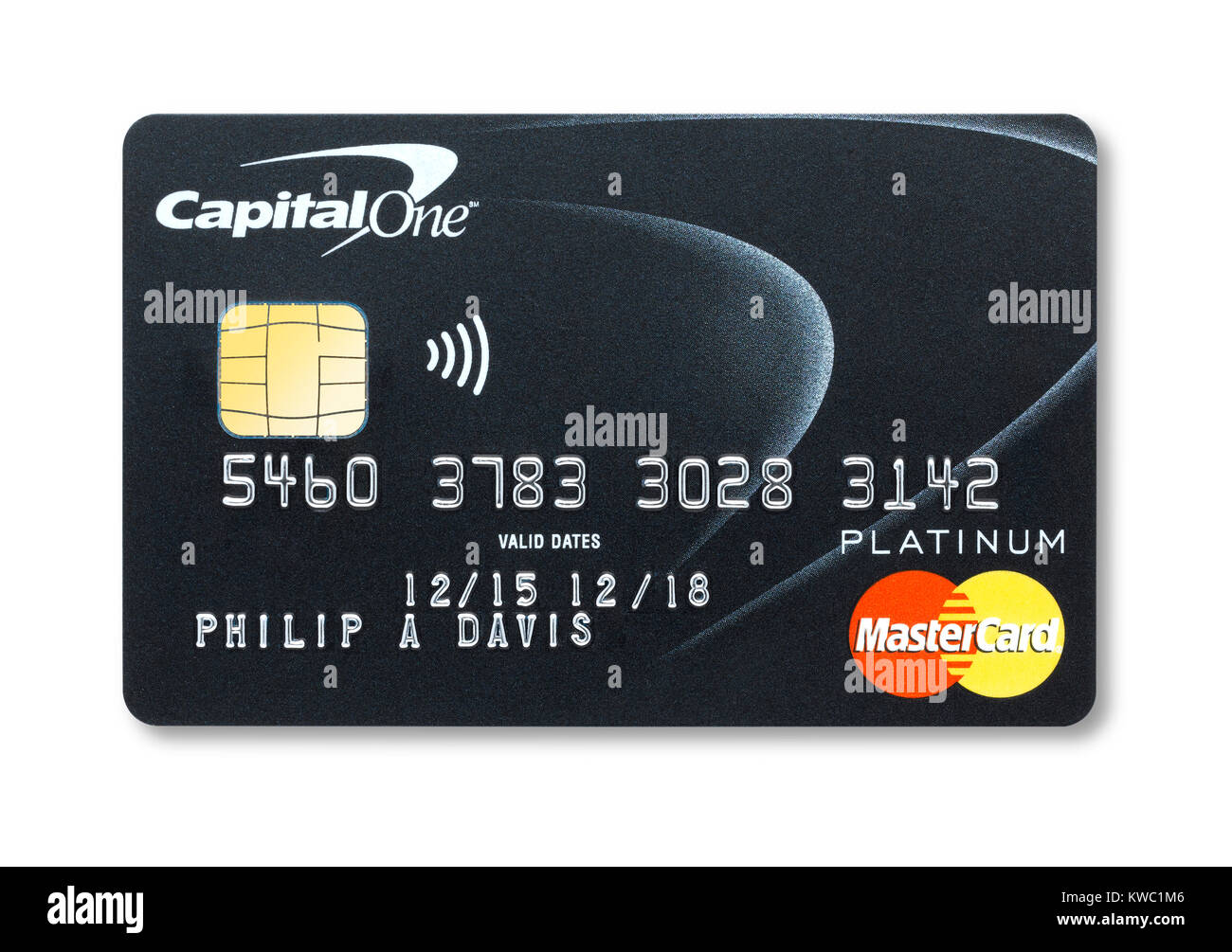 Simple cut out of a Capital One credit card with holding shadow - Stock Image