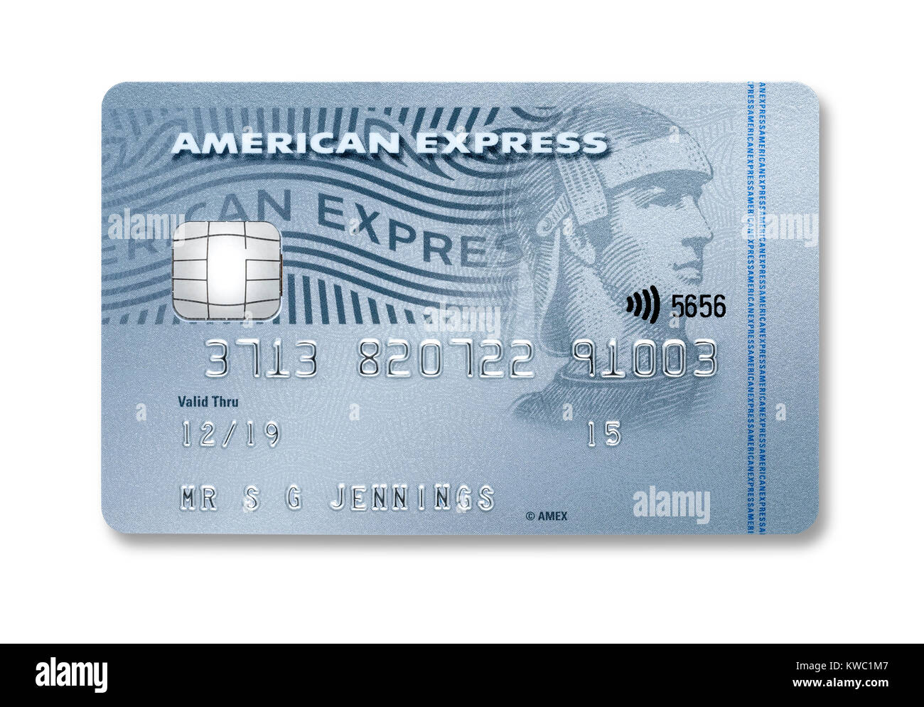 Simple cut out of an American Express credit card with holding shadow - Stock Image
