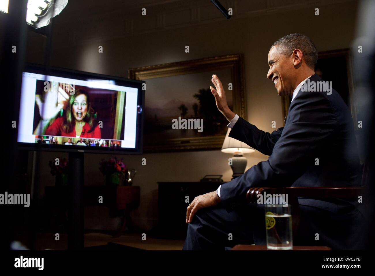 President Barack Obama is interviewed via YouTube and Google+ at the White House. He discussed his State of the - Stock Image