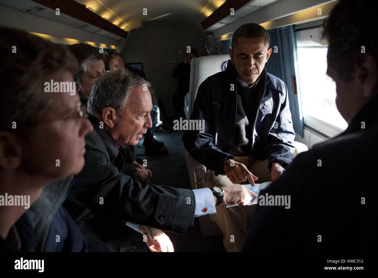 Mayor Michael Bloomberg and President Obama tour of Hurricane Sandy storm damage in NYC. Nov. 15, 2012. Aboard Marine - Stock Image