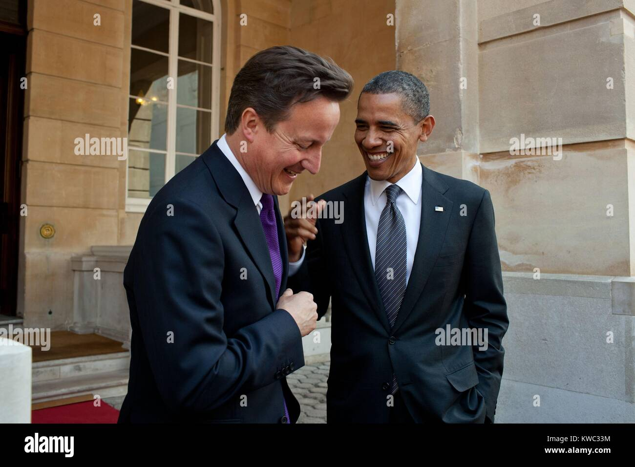 President Obama talks with British Prime Minister David Cameron at Lancaster House in London. May 25, 2011. (BSLOC - Stock Image