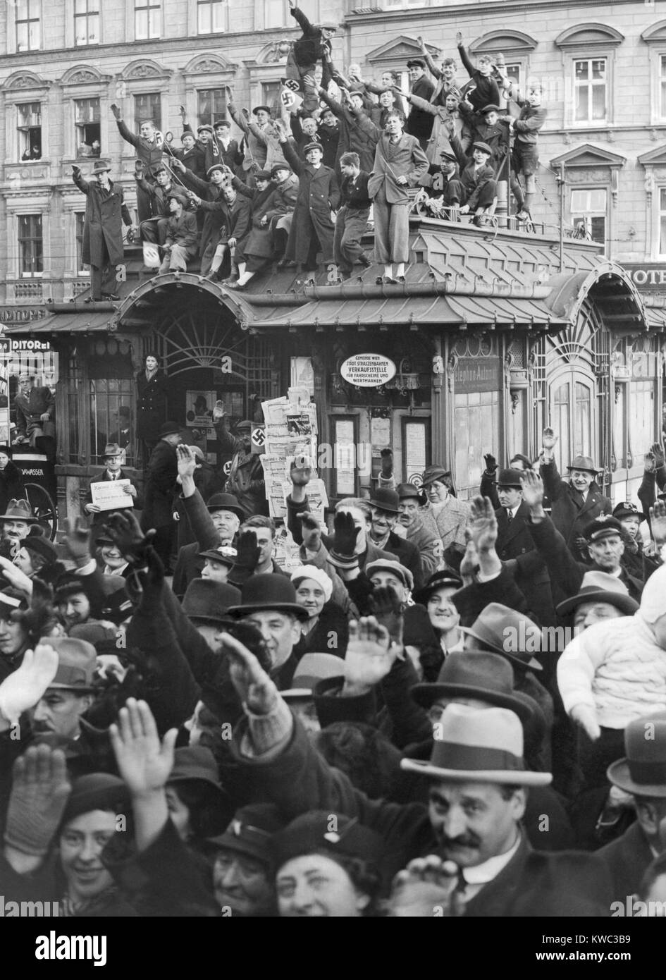 Hundreds of thousands of Austrians line the route of Hitler's triumphant entry into Vienna, Austria. March 15, - Stock Image