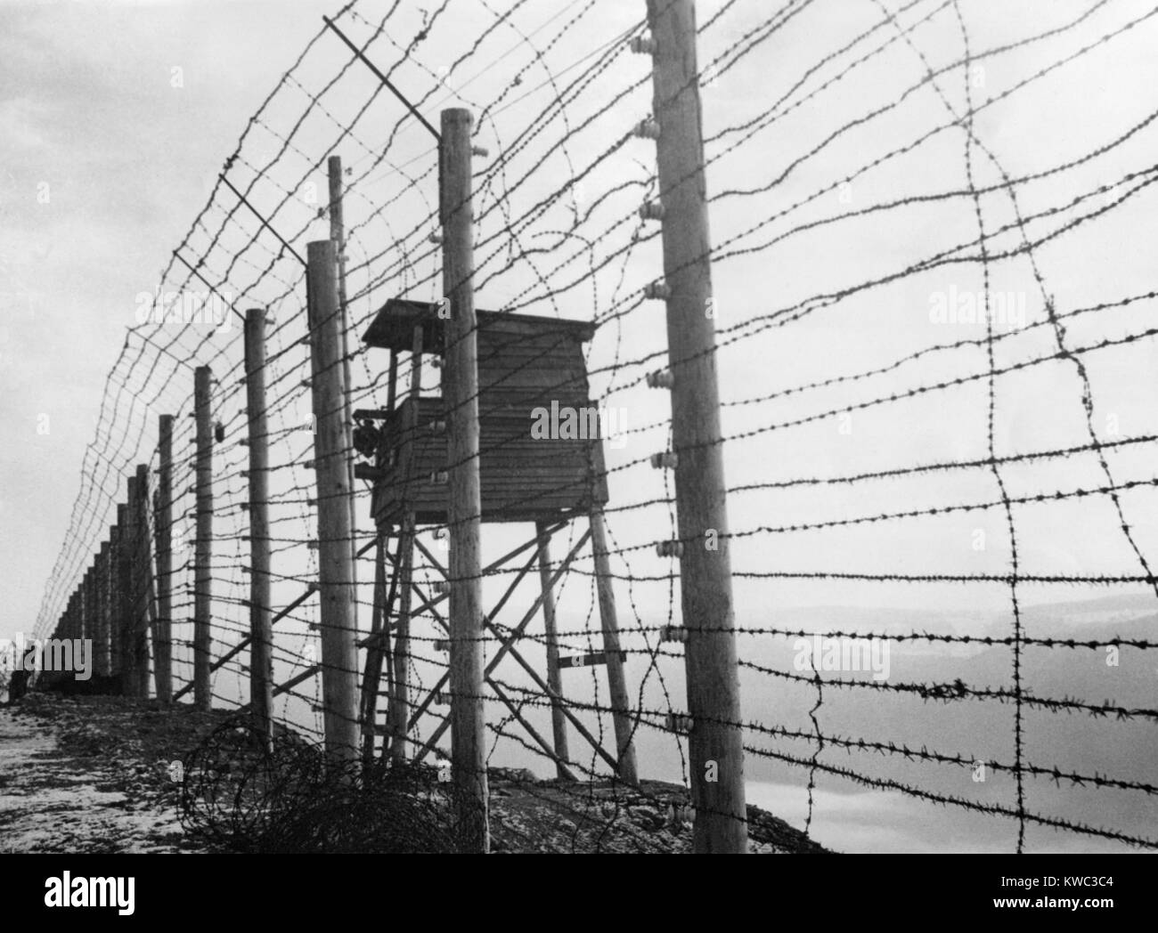 Electrified barbed wire fence and guard house at Struthof Stock ...