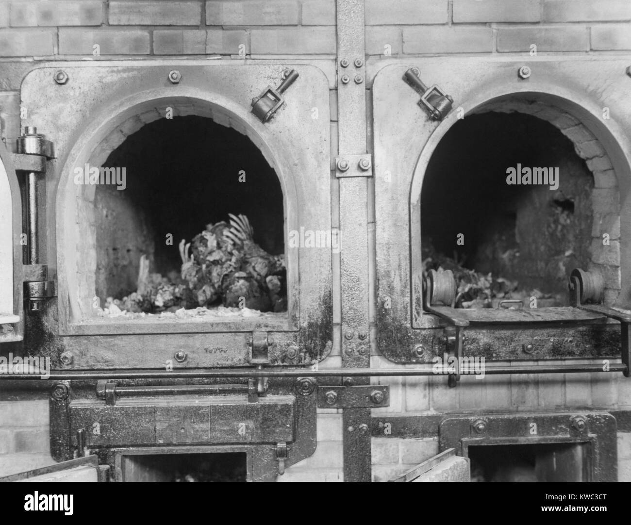 Cremation ovens at the Buchenwald concentration camp near Jena, Germany, April 16, 1945. Prisoners from all over - Stock Image