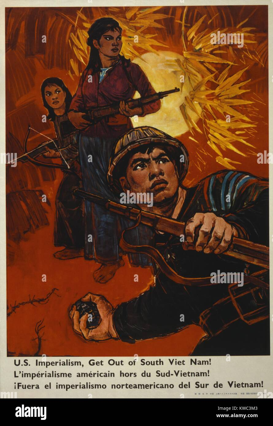 Communist China Poster reads, 'U.S. imperialism, get out of South Viet Nam!' Ca. 1970. Poster depicts men - Stock Image