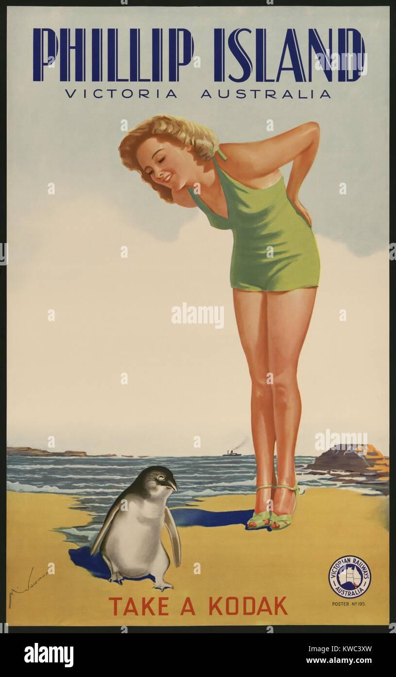 Phillip Island, Victoria, Australia. Take a Kodak. 1930s travel poster for Victorian Railways Australia of a bathing - Stock Image