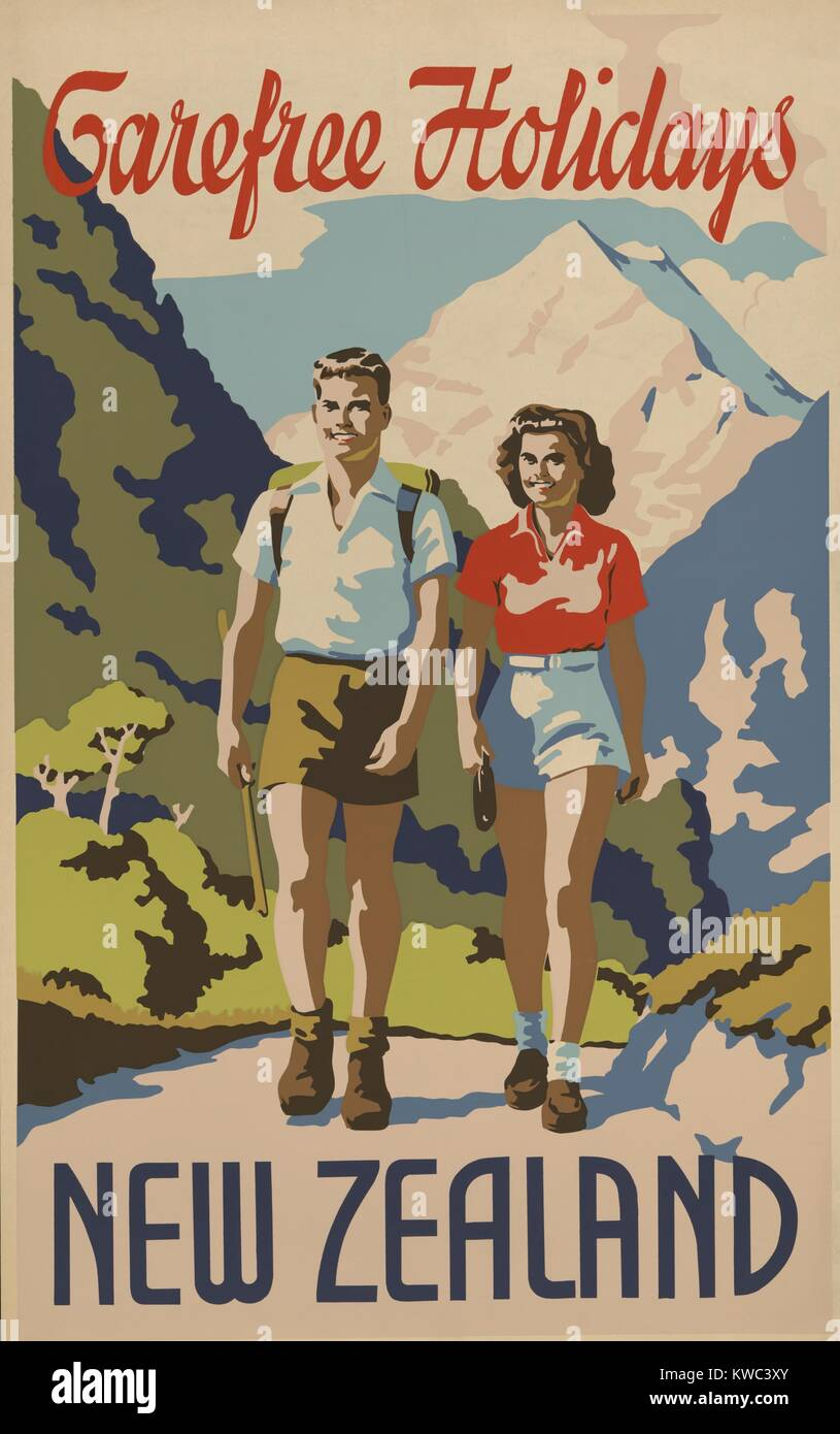 Carefree holidays New Zealand. 1930's travel poster shows a young man and woman hiking in the mountains. (BSLOC - Stock Image