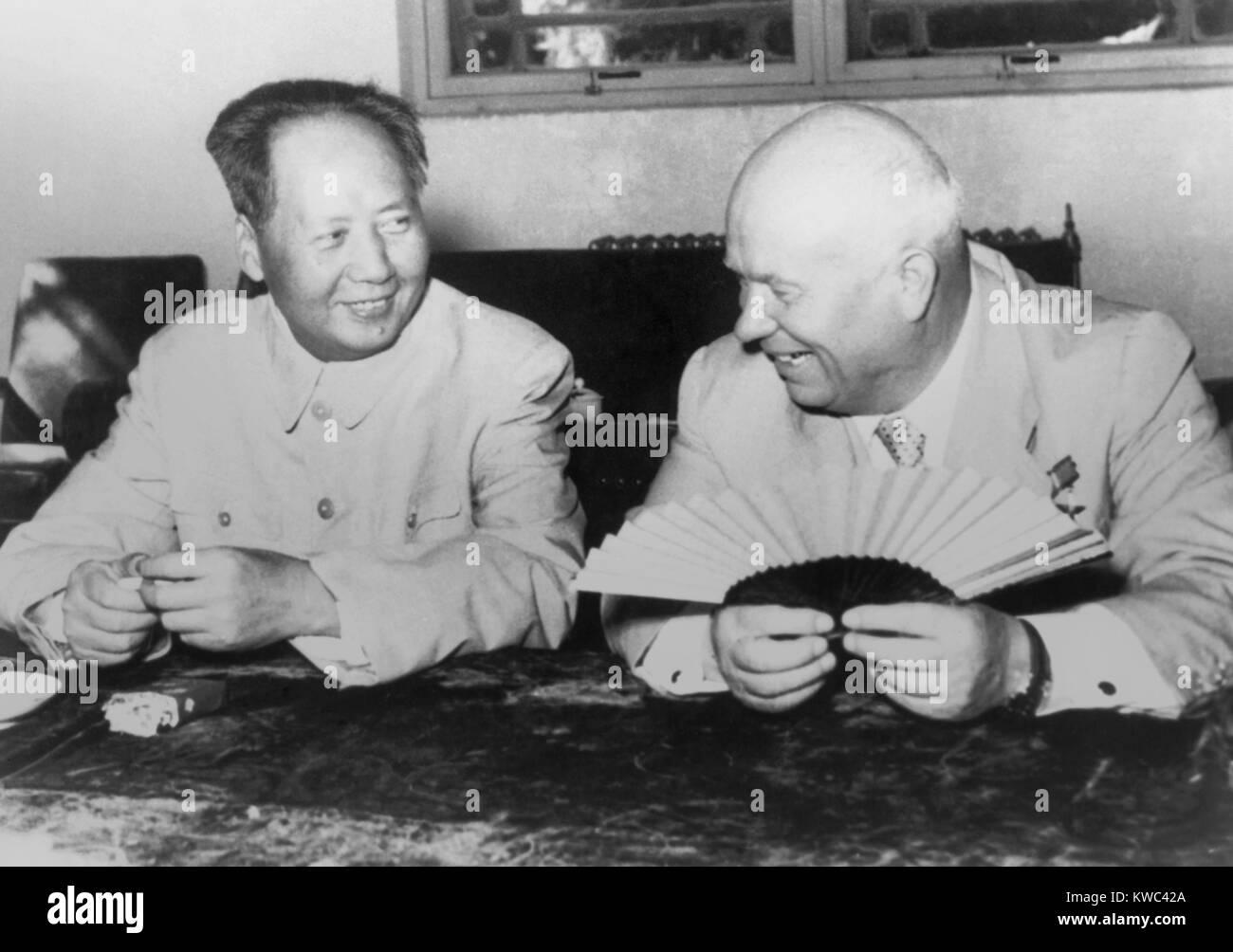 Mao Tse-tung and Nikita Khrushchev, during the Soviet Russian leader's visit to Peking (Beijing). Aug. 11, 1958. - Stock Image