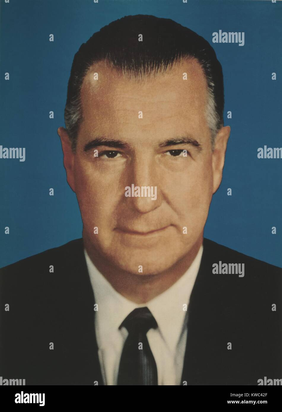 Vice President Spiro Agnew, in 1968 Republican Presidential campaign portrait. (BSLOC_2015_14_41) - Stock Image