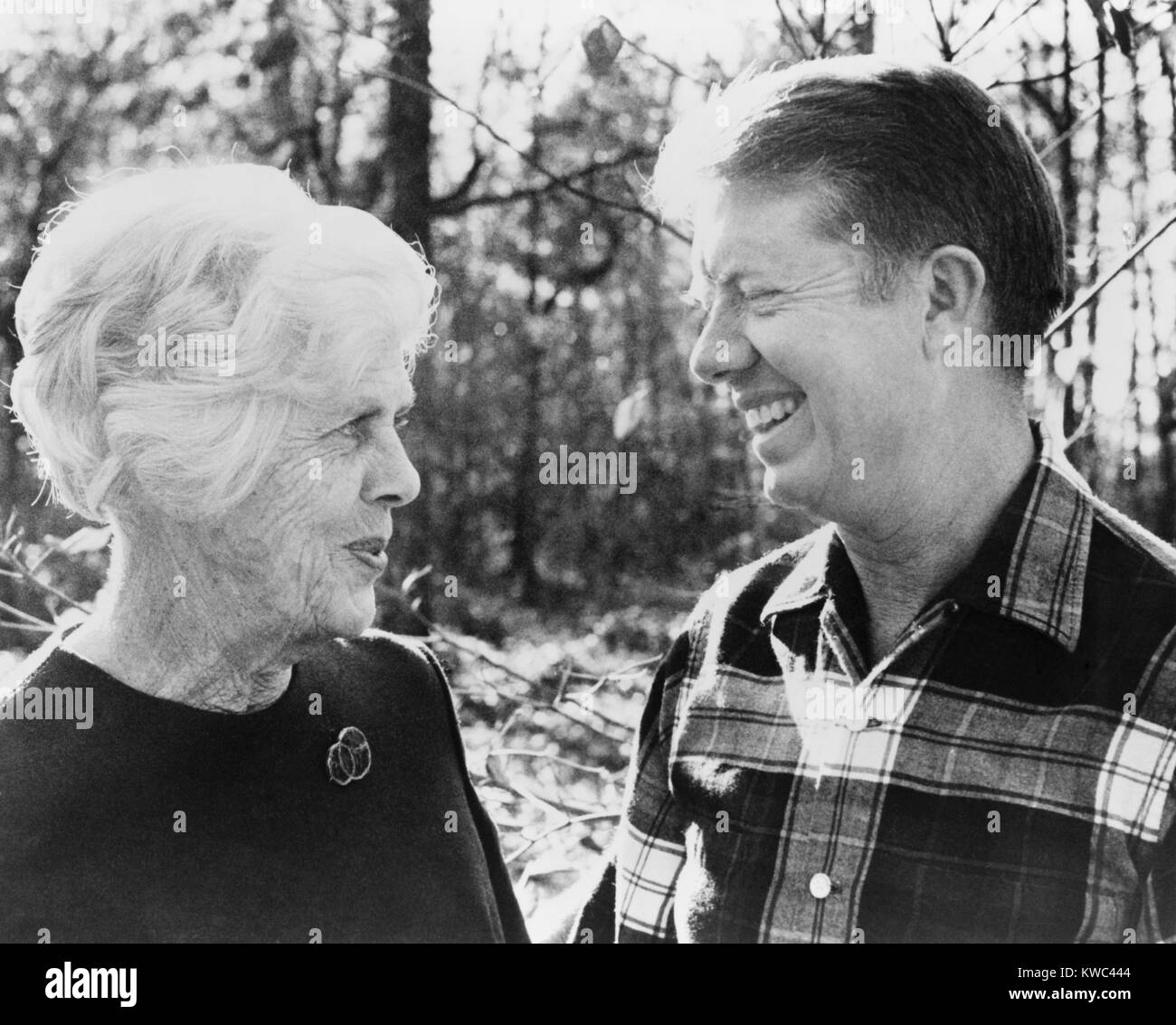 Jimmy Carter and his mother, Ms. Lillian. Born Bessie Lillian Gordy, she received her nursing degree in 1923. She - Stock Image