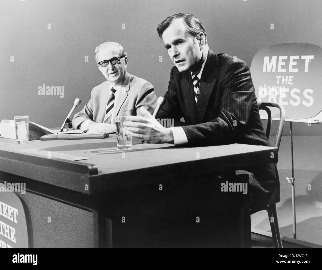 George H. W. Bush on 'Meet the Press' TV program in 1971. The future U.S. President was then the Ambassador - Stock Image