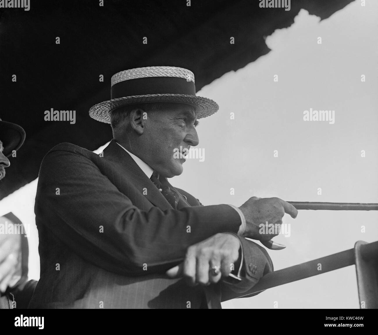 President Warren Harding at Gettysburg Battlefield, July 1, 1922. He watched 5,500 U.S. Marines reenact Pickett's - Stock Image