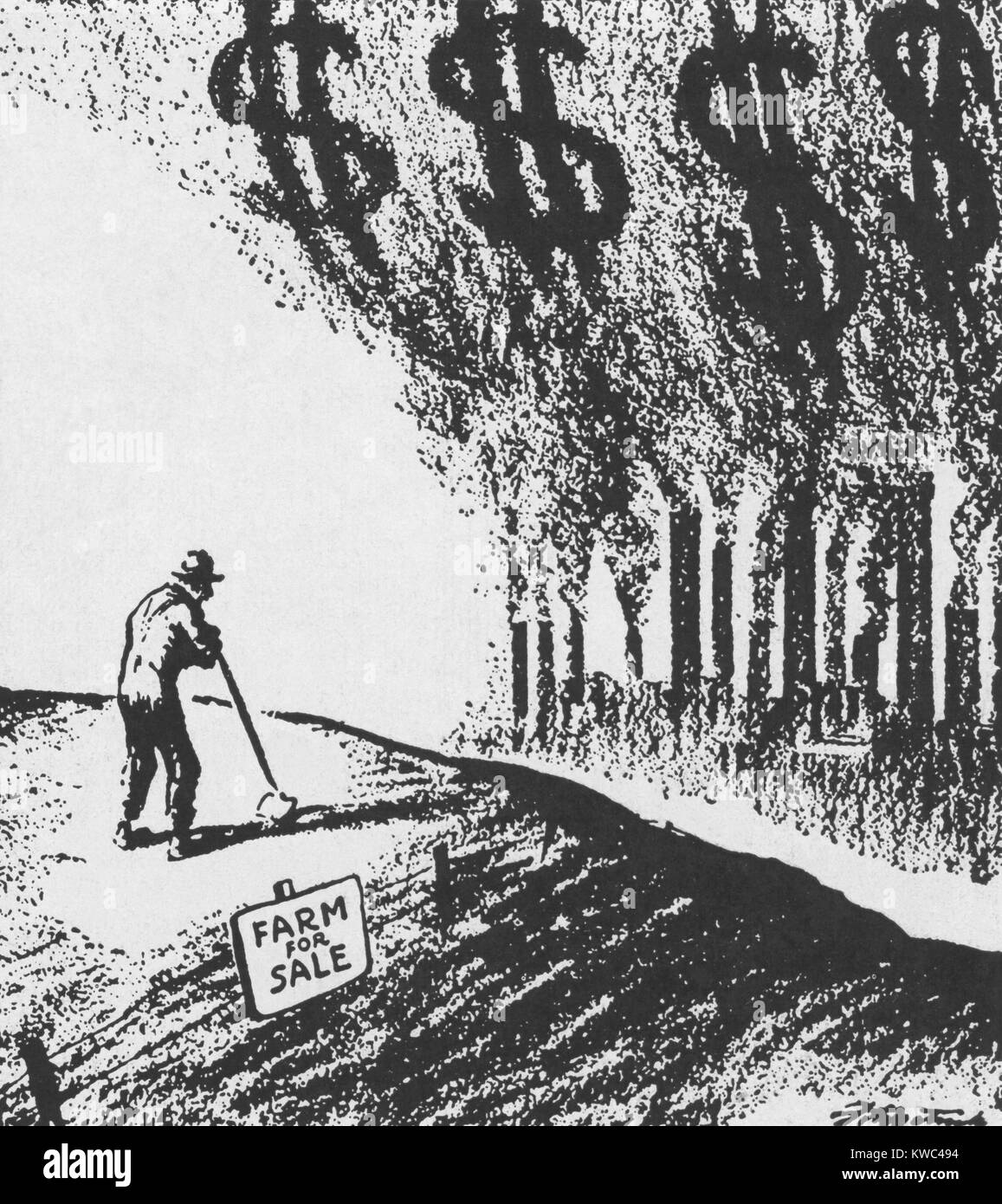 Agriculture Depression of the 1920s followed the Boom of the World War 1. During the Great War farmers borrowed - Stock Image