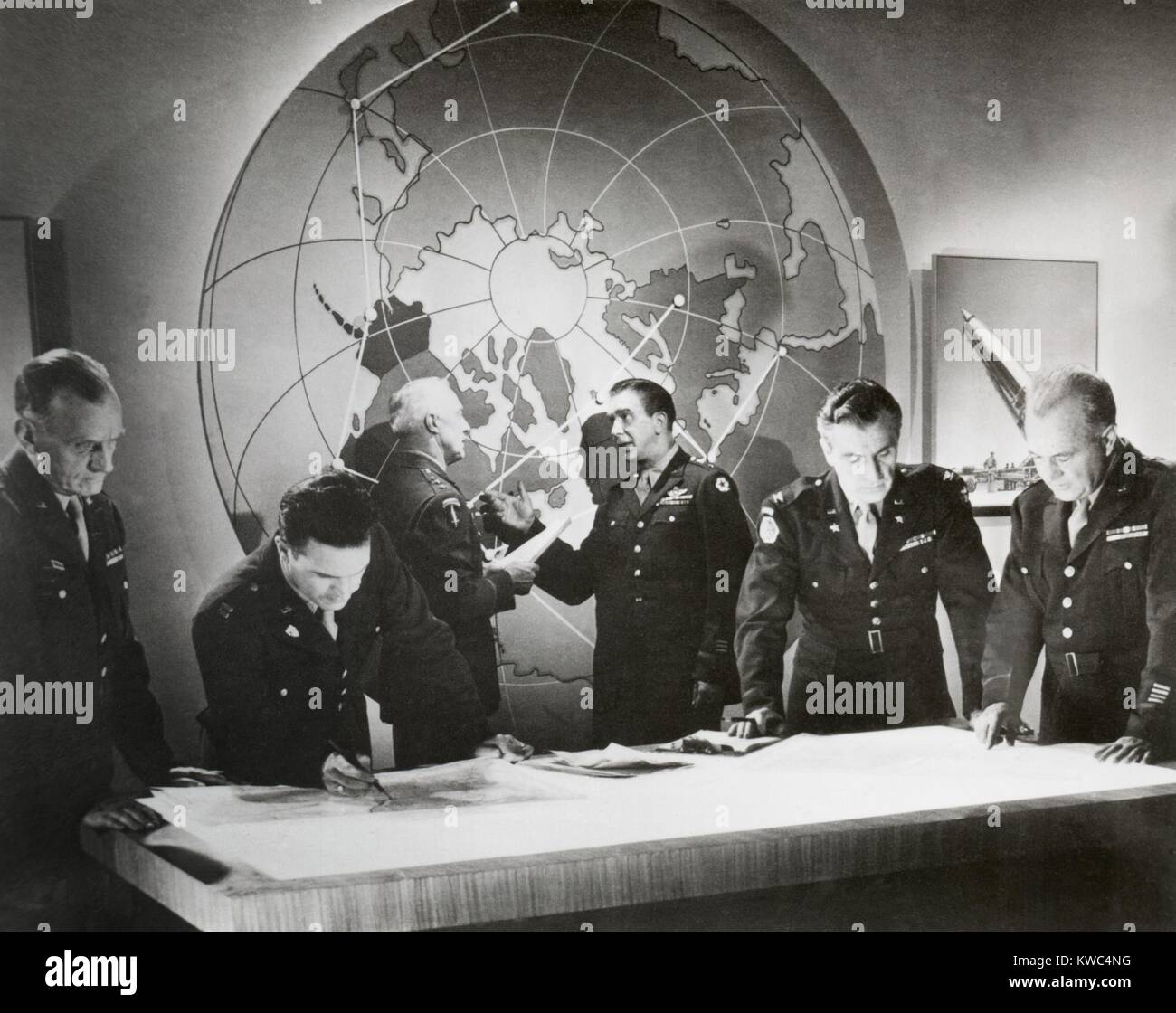 Movie still from a U.S. Army film about a hypothetical attack using an atomic bomb, Nov. 1948. Scene of Army generals - Stock Image