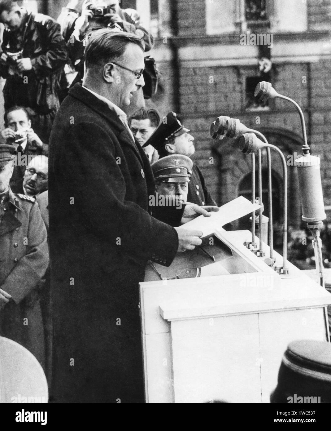 Arthur Seyss-Inquart was Chancellor of Austria for two days before the German annexation of Austria. The Austria Stock Photo