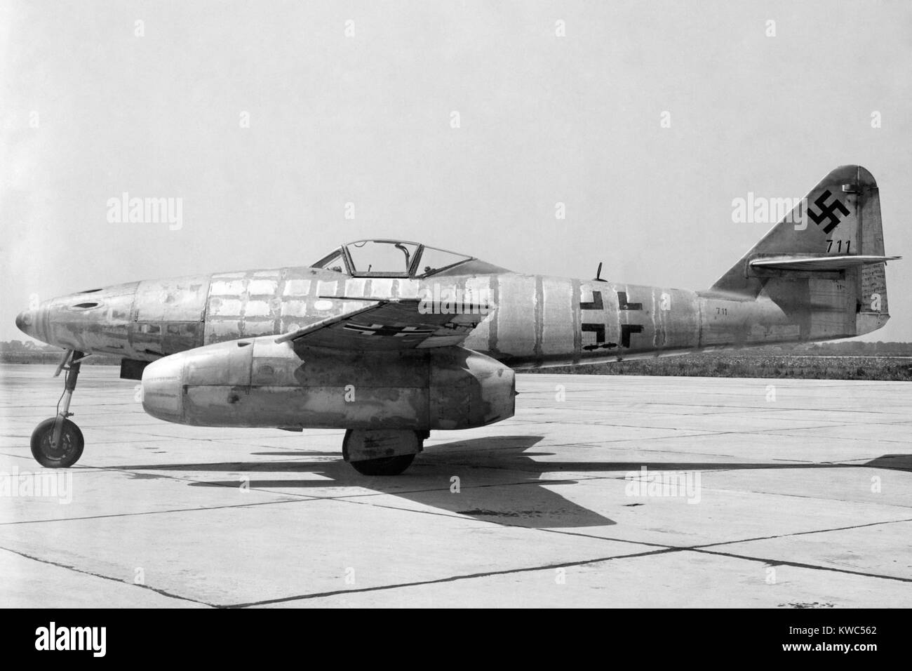 German Messerschmitt 262 jet-propelled plane in possession of the U.S. Air Force after World War 2. Side view. 1945. - Stock Image