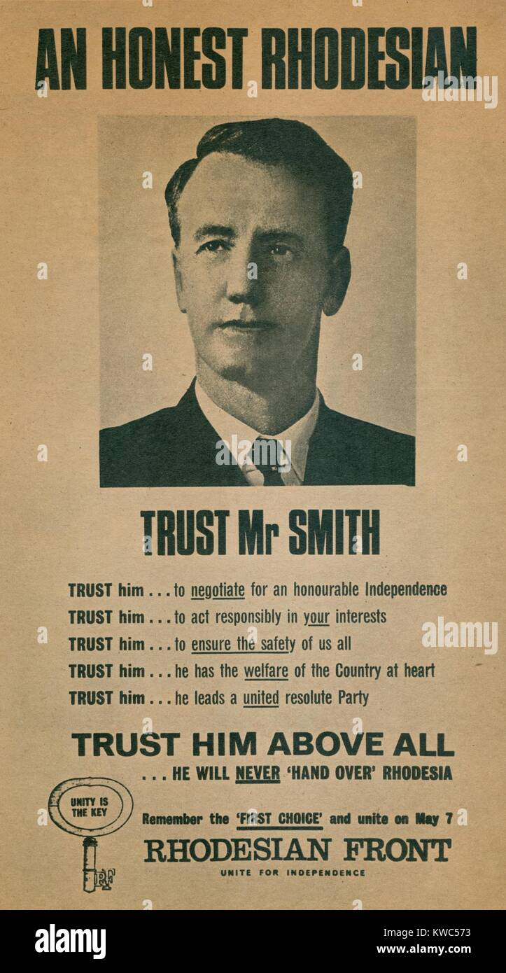 Campaign Poster for Ian Smith in 1960s. In 1965 as Rhodesian Prime Minister, his white government unilaterally declared - Stock Image
