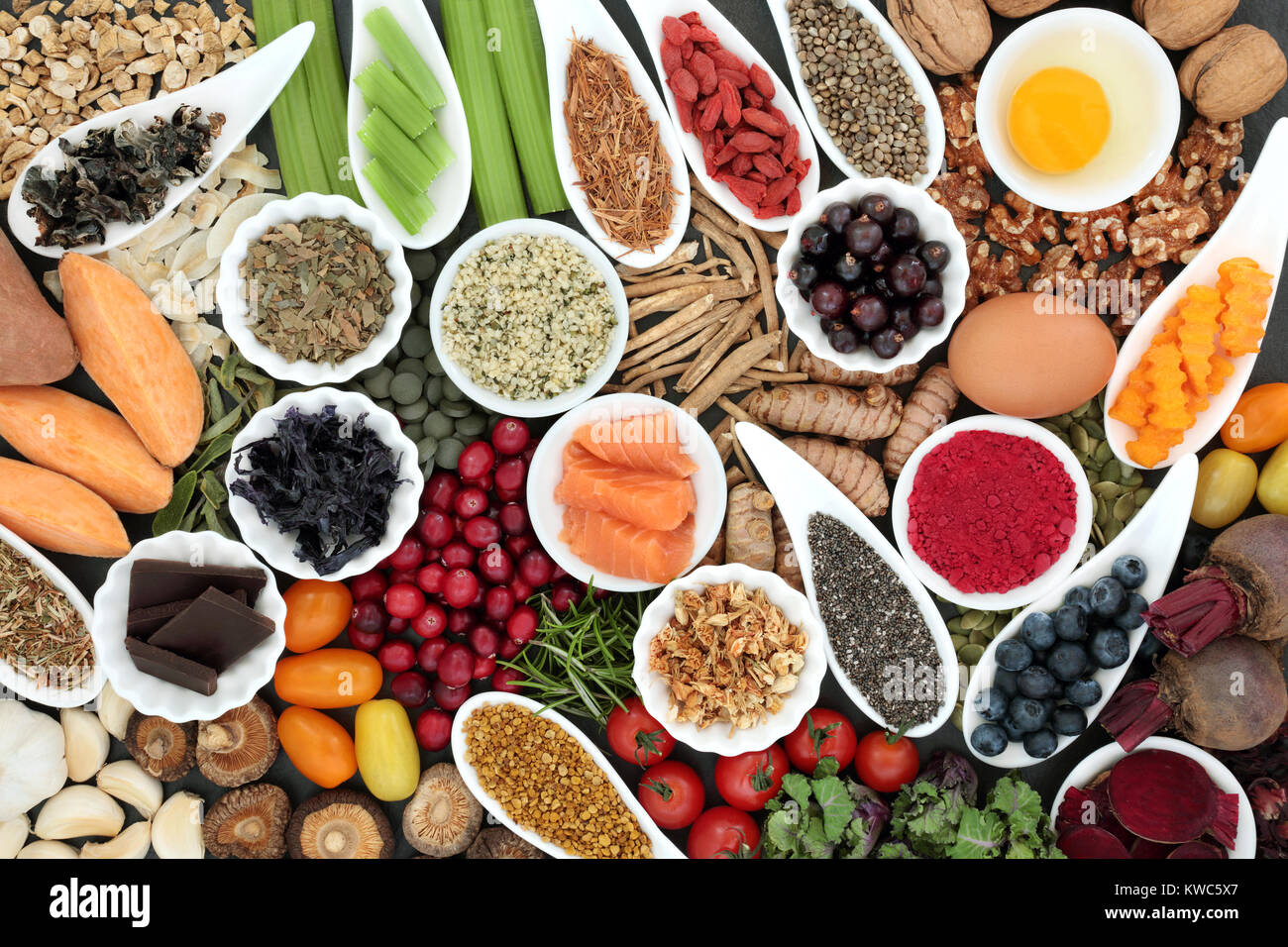 Health food to improve brain cognitive functions. Super foods concept very high in minerals, vitamins, antioxidants, - Stock Image