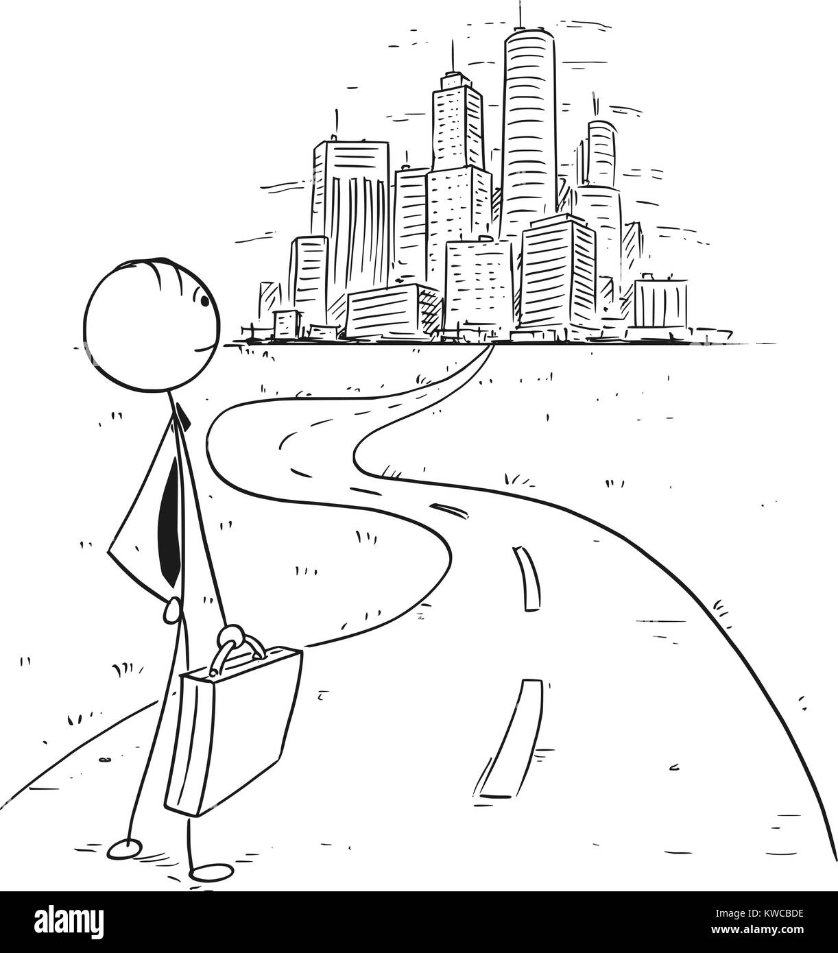 Cartoon stick man drawing conceptual illustration of businessman standing on the way leading in to big city or big Stock Vector