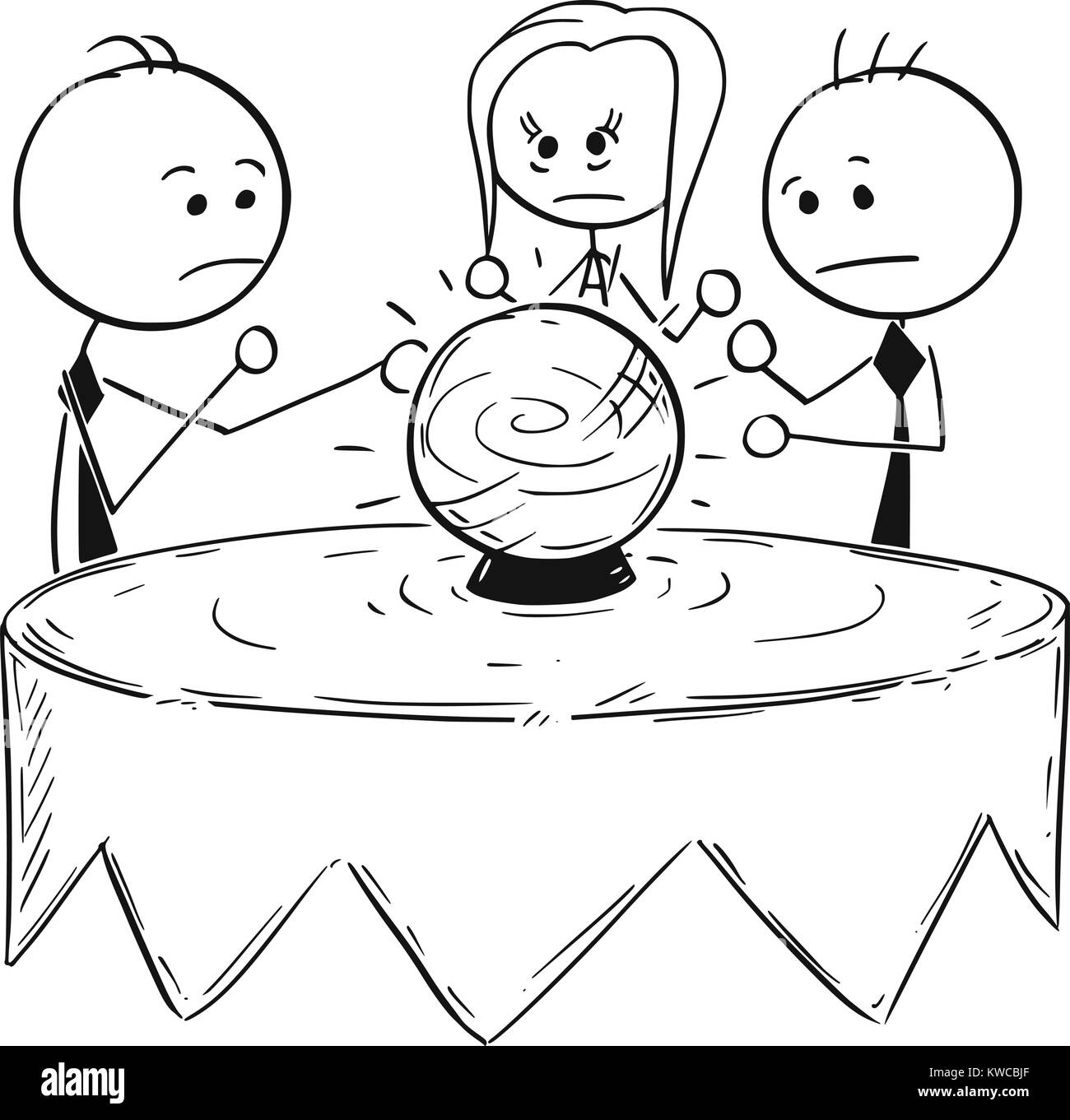 Cartoon stick man concept drawing illustration of business people predict fortune telling market future from the - Stock Image