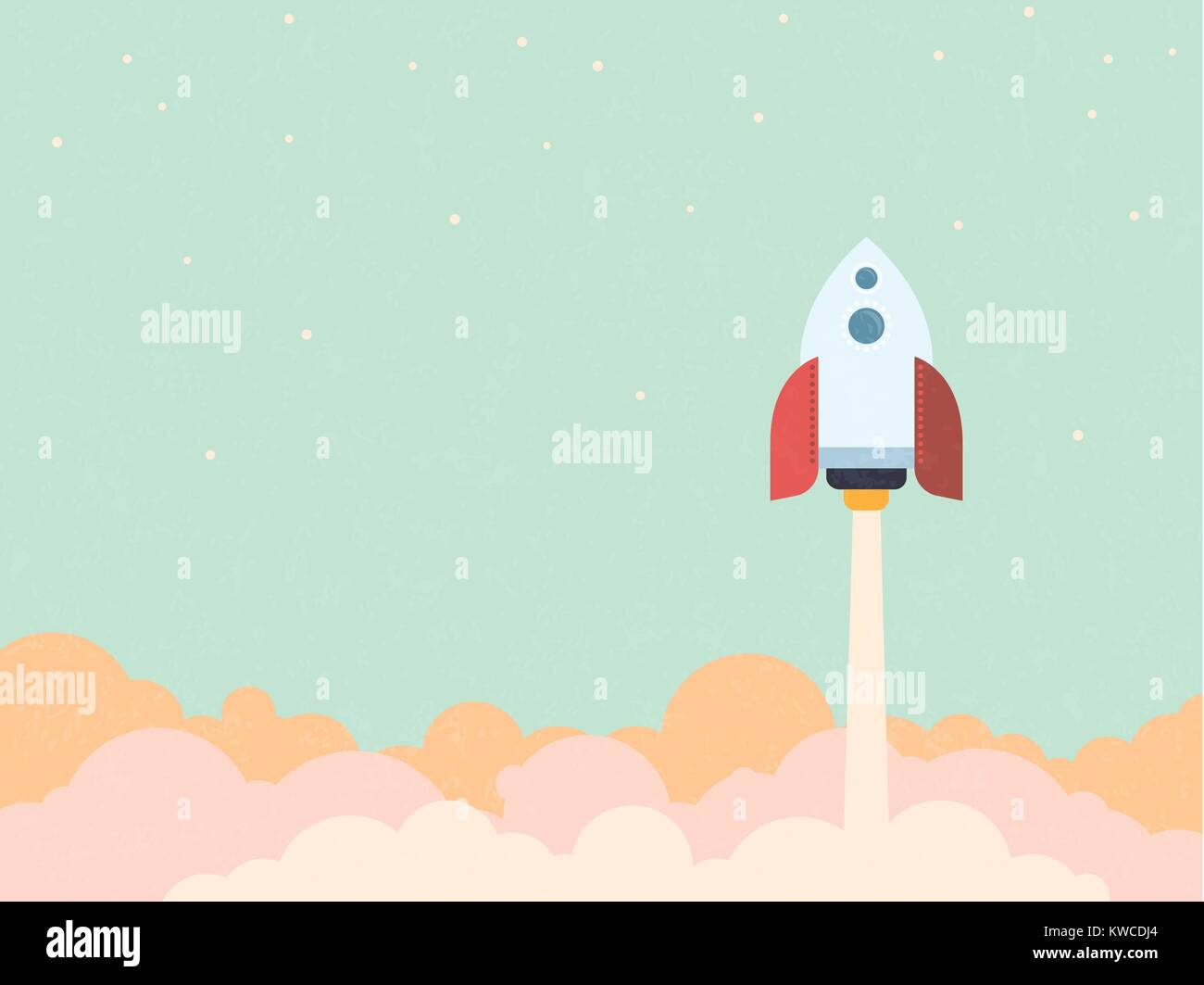 Startup concept - rocket blast off to space retro style vector illustration - Stock Image