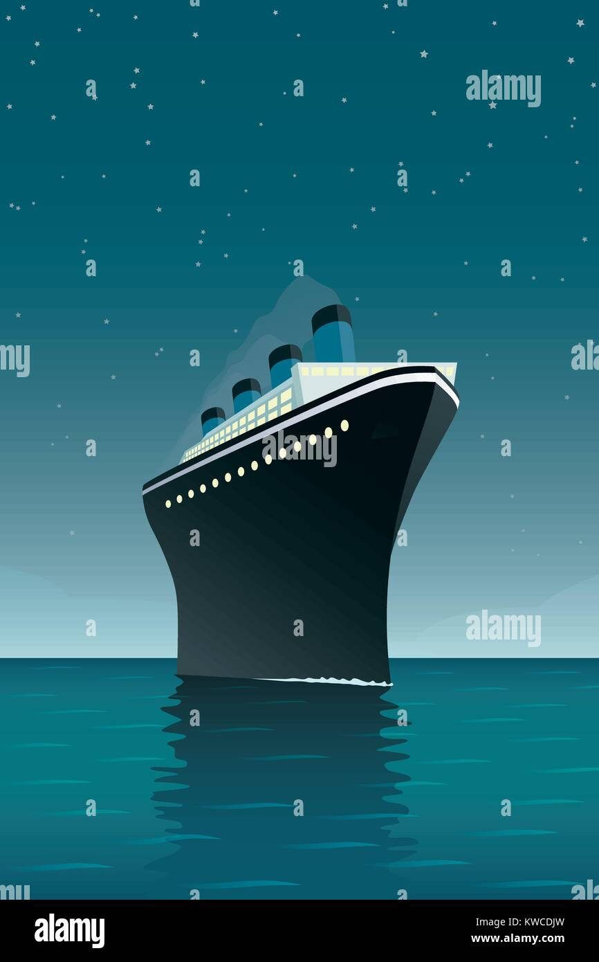 Vintage style vector illustration of giant cruise ship on the ocean at night - Stock Vector