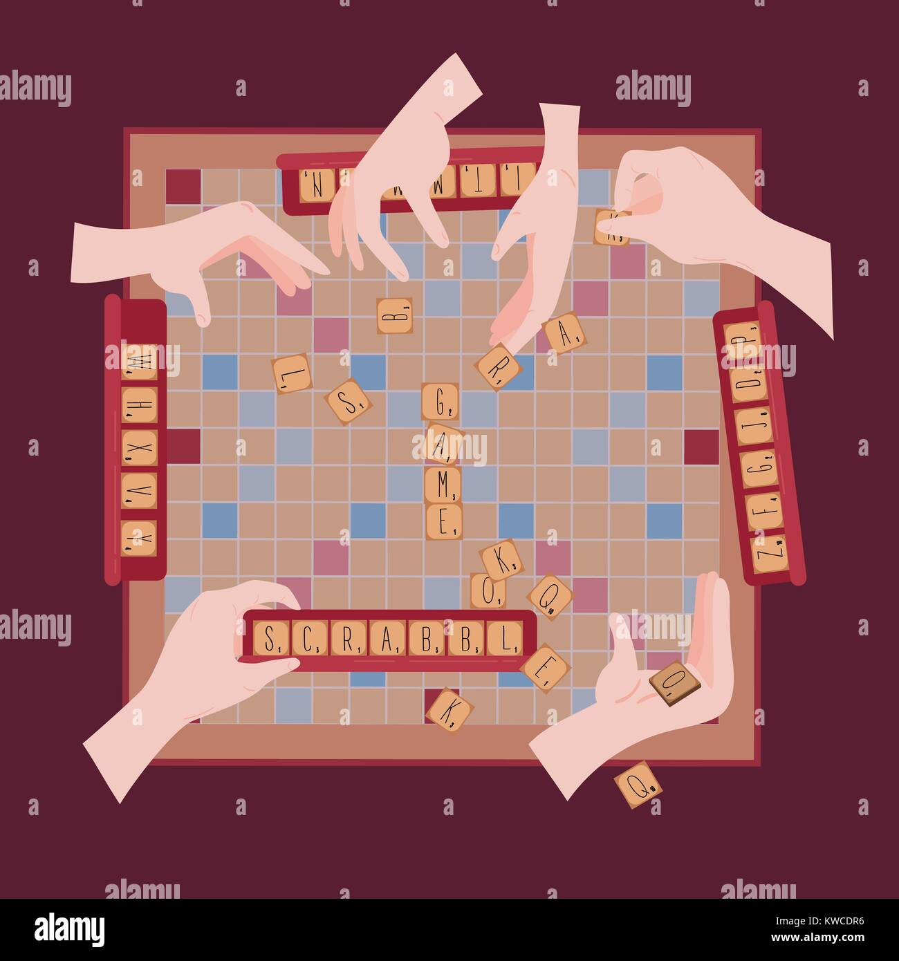 Board Table Wooden Game For Kids And Adult. Making Scrabble Words From Tile  Letters. Hands With Pieces. Entertatinment For Everybody. Toy For Eruditio