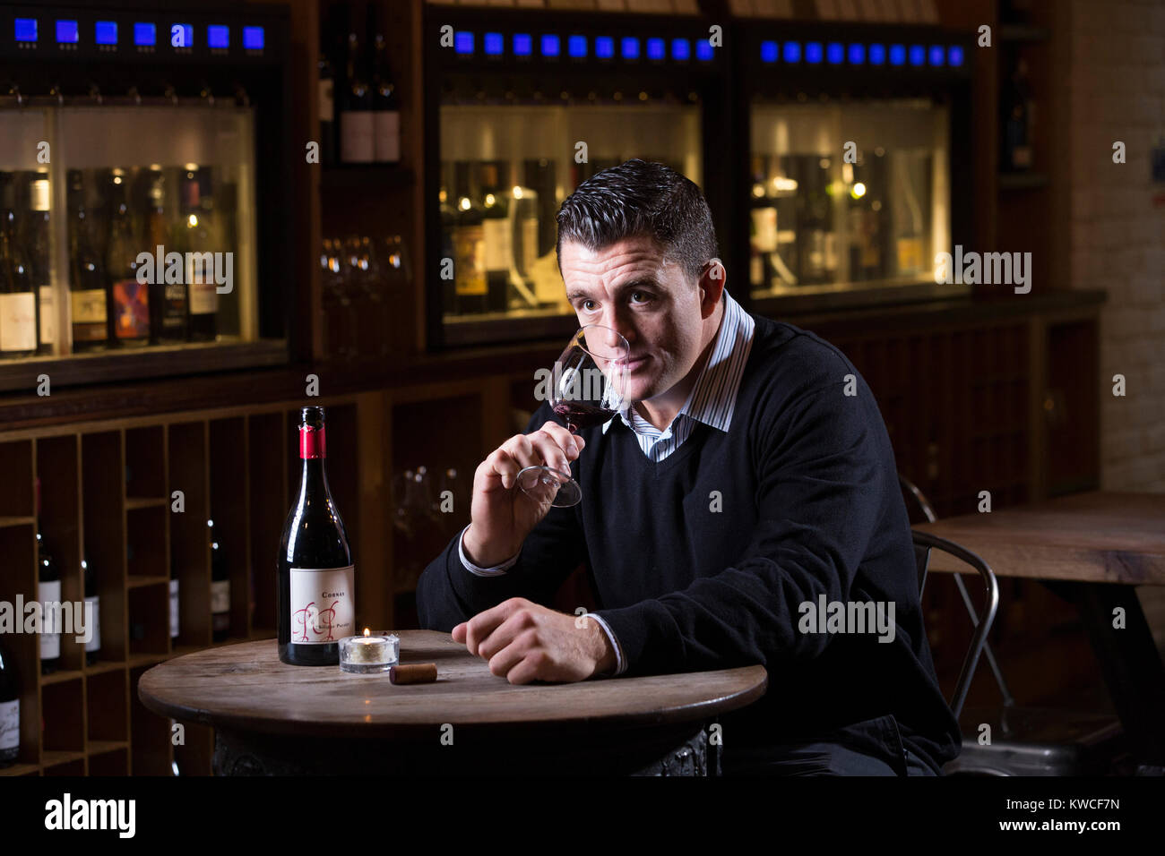 Andrew Sheridan, former England prop in world rugby, now holder of Wine and Spirit Education Trust Diploma, photographed - Stock Image