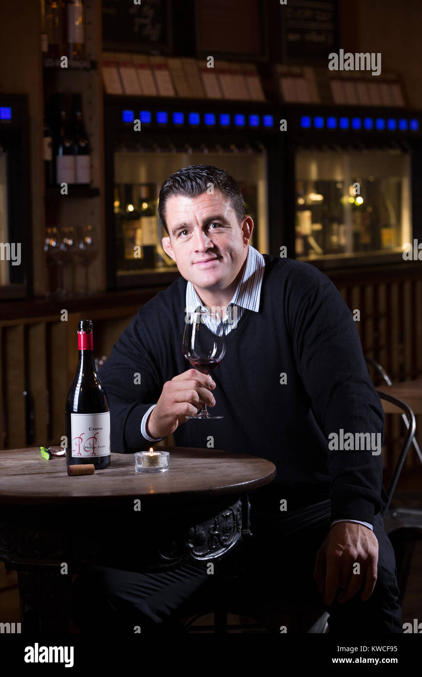 Andrew Sheridan, former England prop in world rugby, now holder of Wine and Spirit Education Trust Diploma, photographed Stock Photo