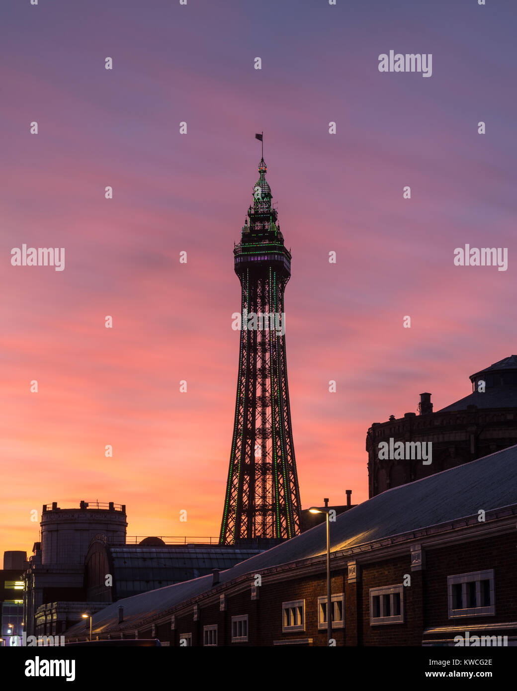 Blackpool Tower with very colourful sunset sky - Stock Image