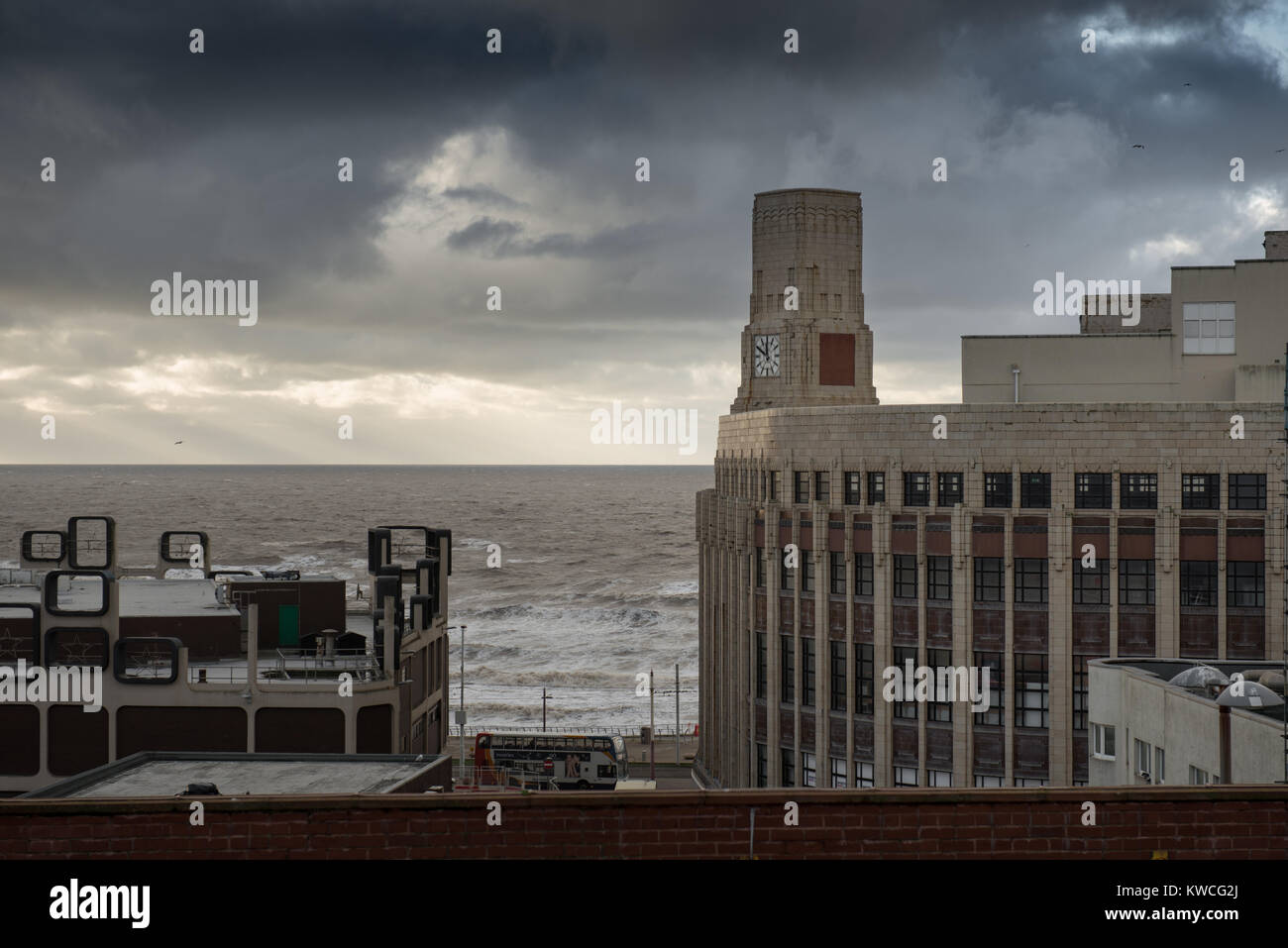 Old Woolworths building Blackpool with dramatic sky Stock Photo
