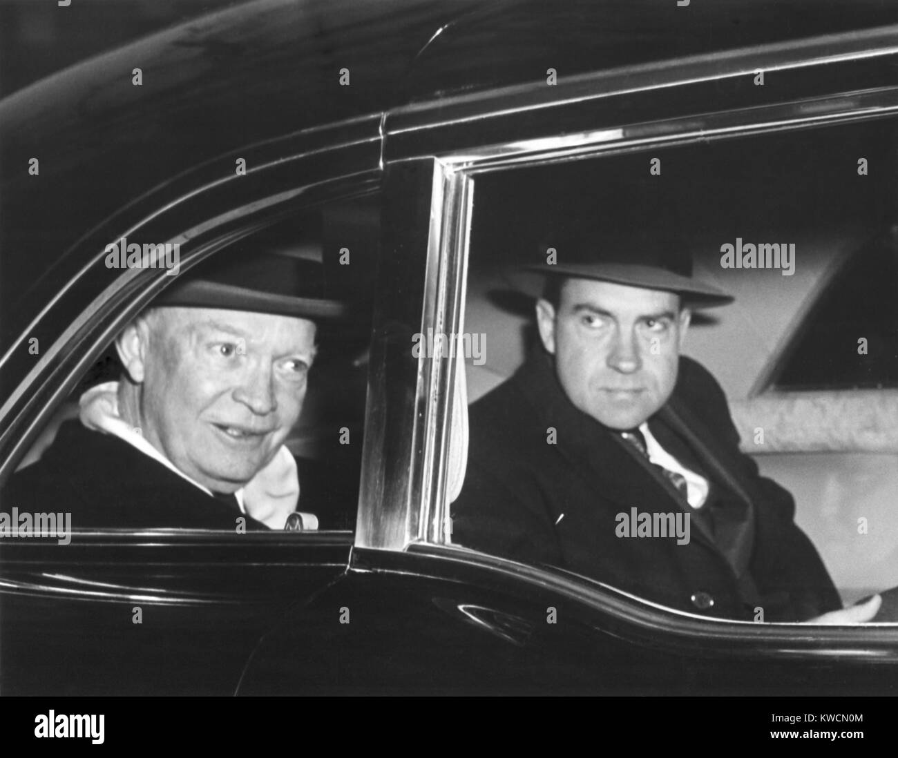 President Eisenhower and Vice President Richard Nixon in a limousine. Jan. 7, 1958. - (BSLOC_2014_14_42) - Stock Image
