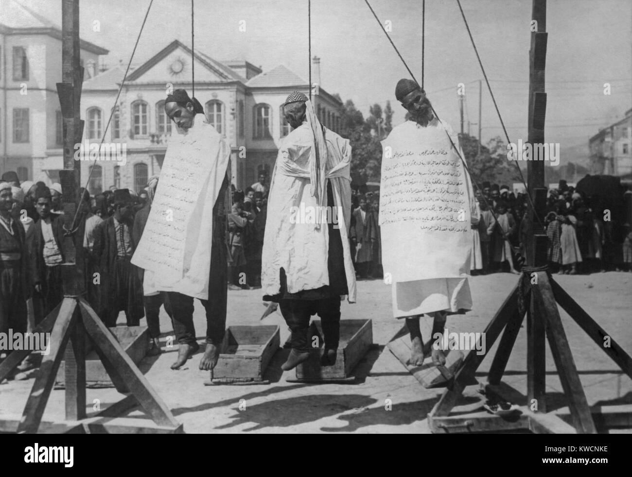 Triple hanging of Druse 'bandits' in Marjeh Square, Damascus, for the murder of French officers. The image - Stock Image