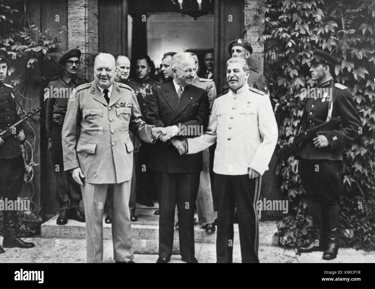 Joseph Stalin, Harry Truman, and Winston Churchill at the Potsdam Conference. While there, Churchill's Conservative - Stock Image
