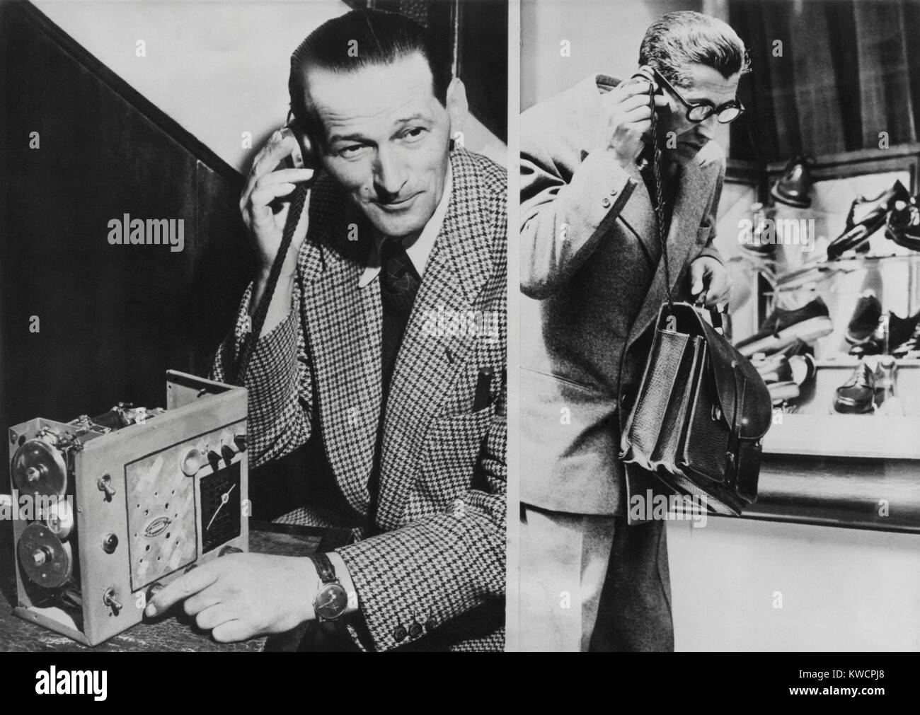 The 'Telephonogramme' was invented by Vital Gassmann. Paris, May 10, 1950. The receiver of this early wireless - Stock Image