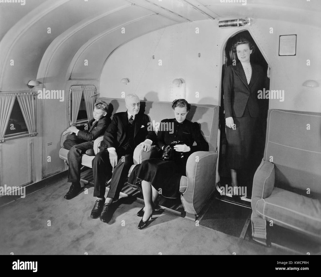 Pan American Martin Clipper airliner's main salon with passengers. Oct. 1936. Called China Clippers, Weekly - Stock Image