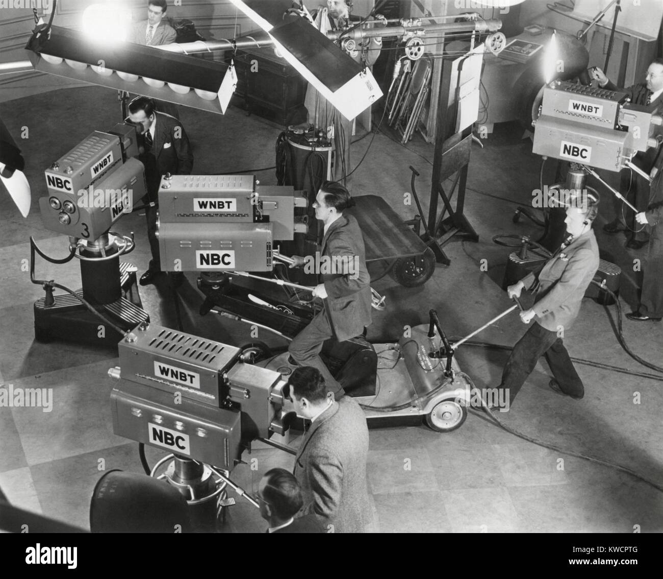 Cameras are tested on the television studio set before the program goes on the air. - (BSLOC_2014_17_139) - Stock Image