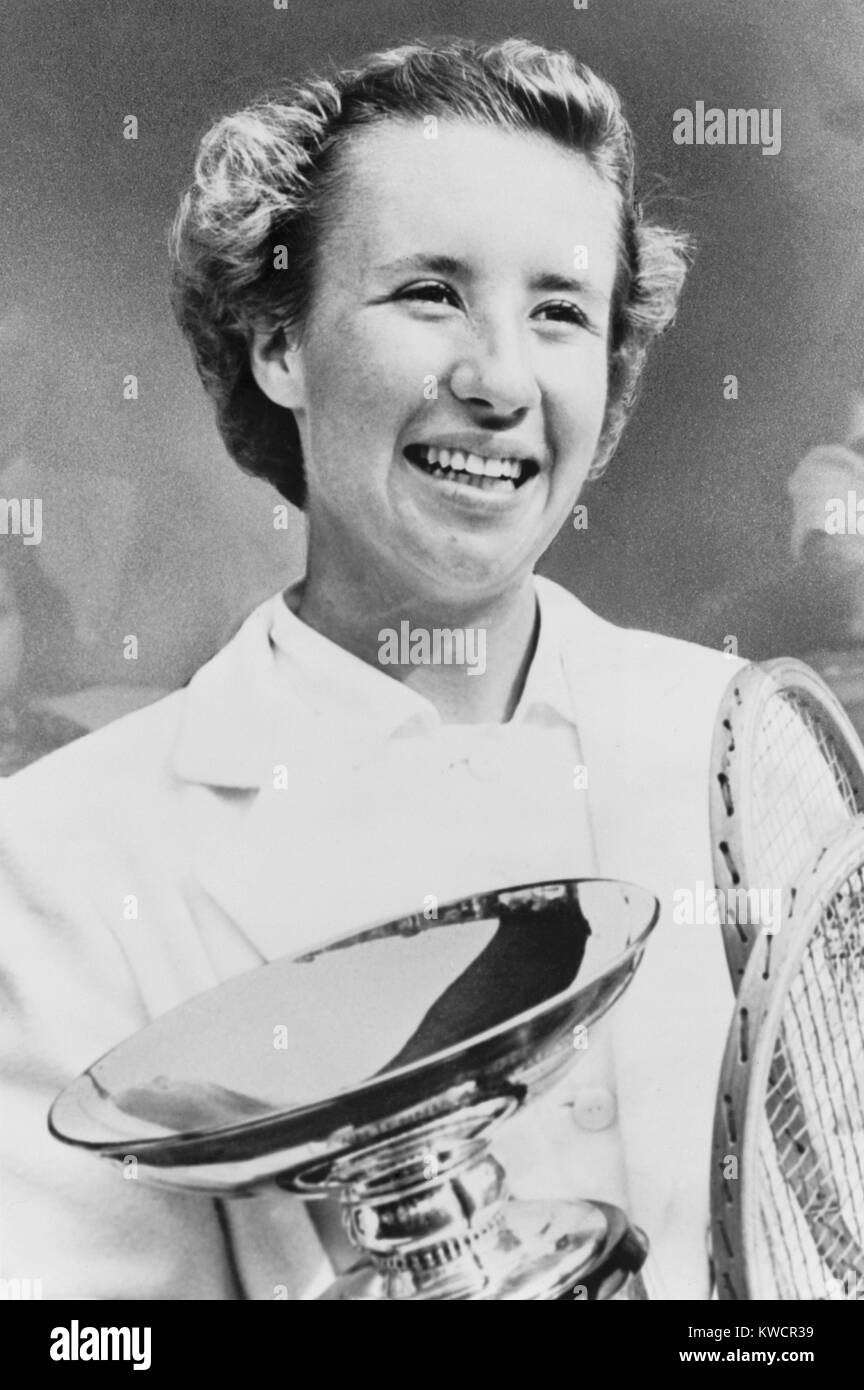 Maureen Connolly, after winning U. S. Women's singles tennis championships at Forest Hills. She won on Sept. - Stock Image