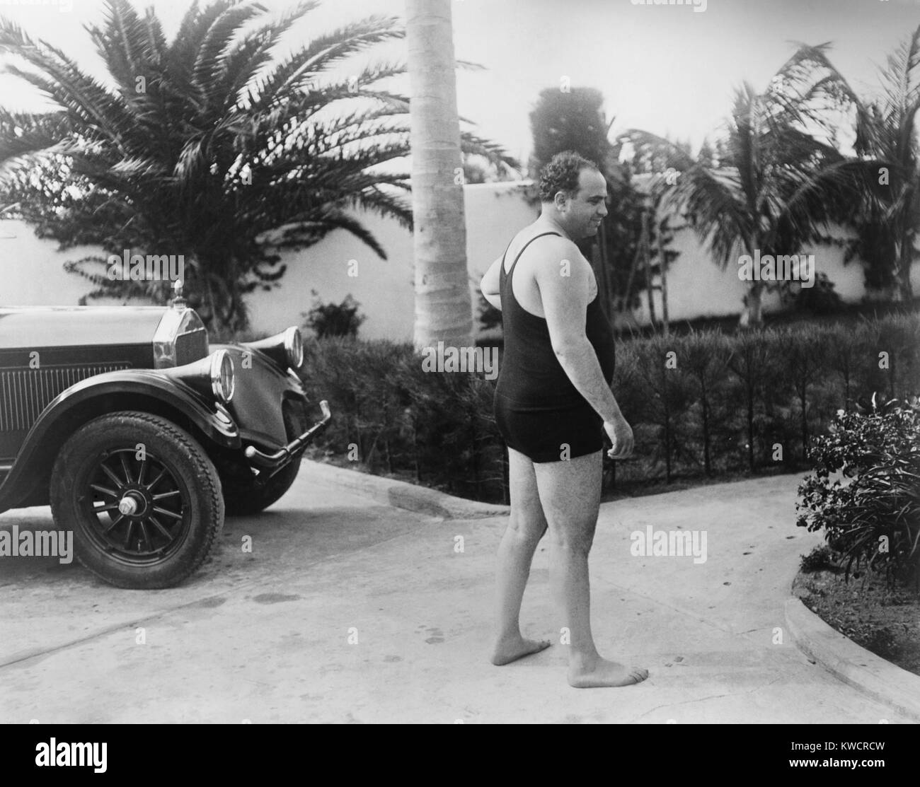 Chicago gangster Al Capone wearing a bathing suit at his Florida home. Ca. 1929-31. - (BSLOC 2015 1 11) Stock Photo