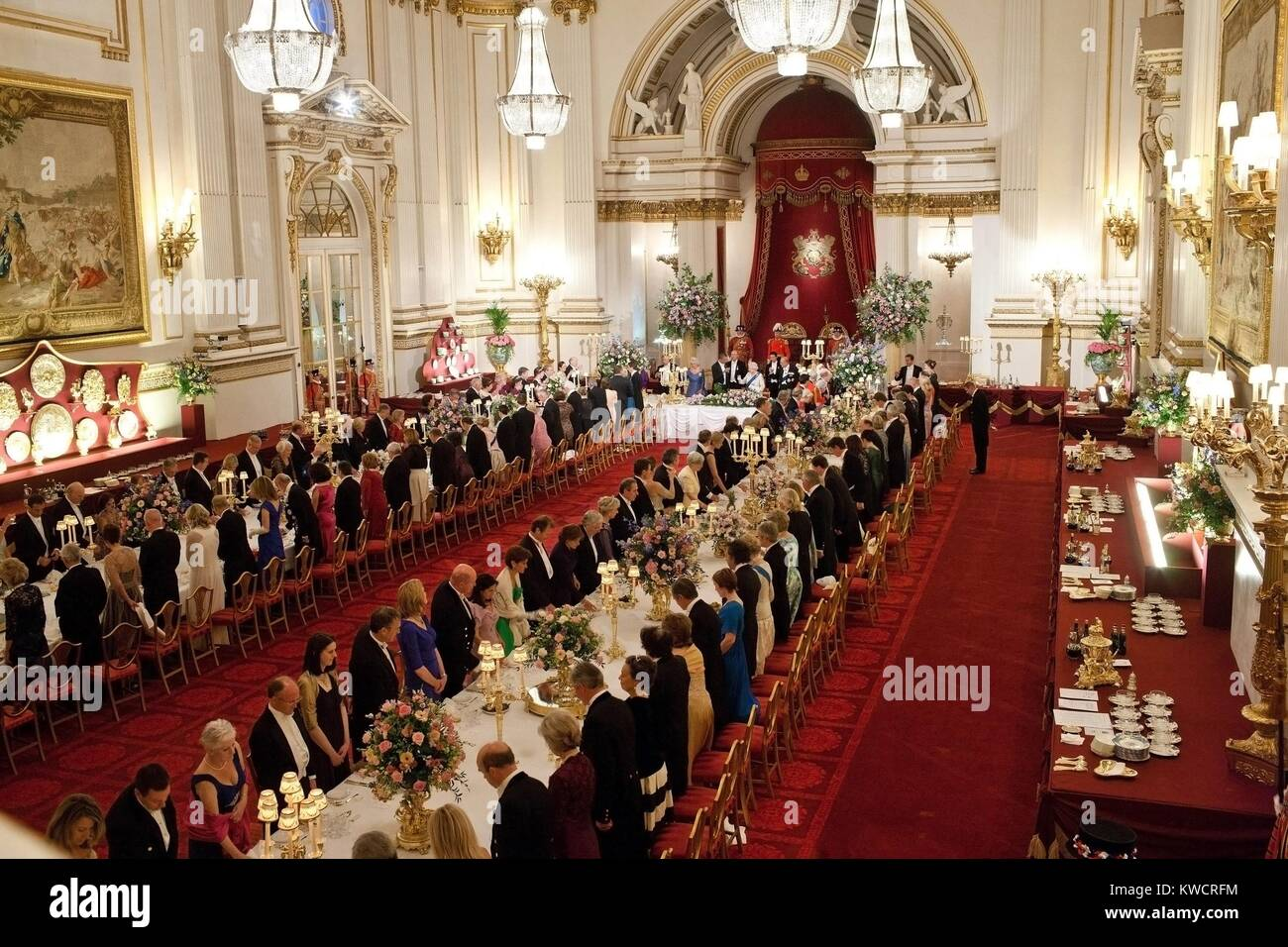 State Banquet for President Barack Obama hosted by Queen Elizabeth II at Buckingham Palace. London, England, May - Stock Image