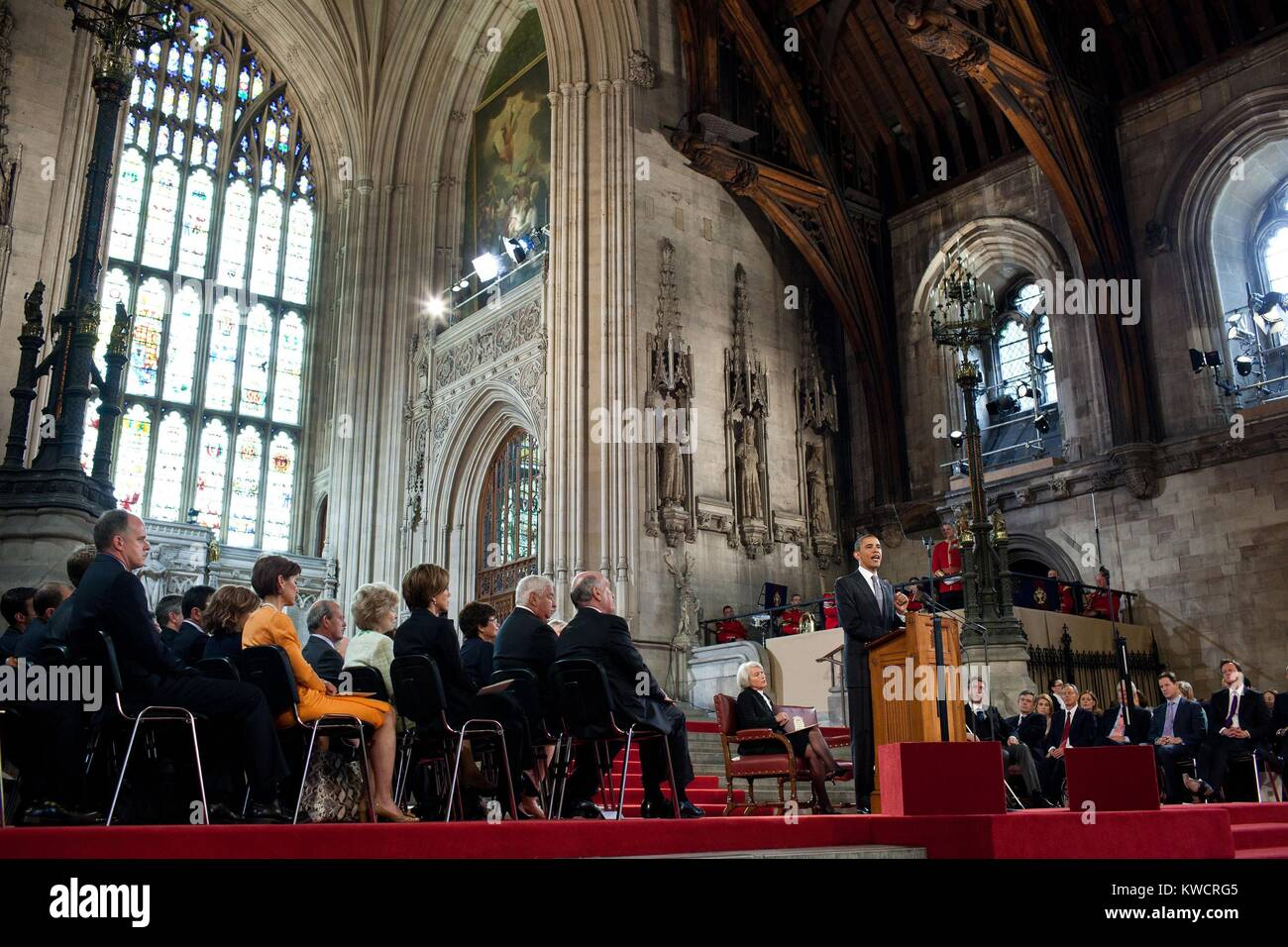 President Barack Obama speaks to members of both Houses of Parliament at Westminster Hall. London, England, May - Stock Image
