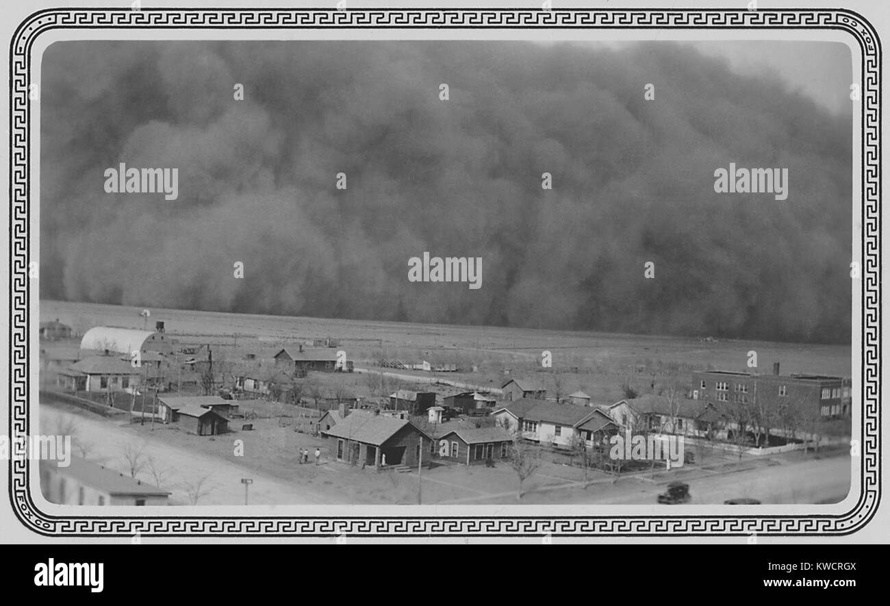 Dust Storm in Rolla, Kansas. May 6, 1935. The photo was sent to President Franklin Roosevelt this note, 'Dear - Stock Image