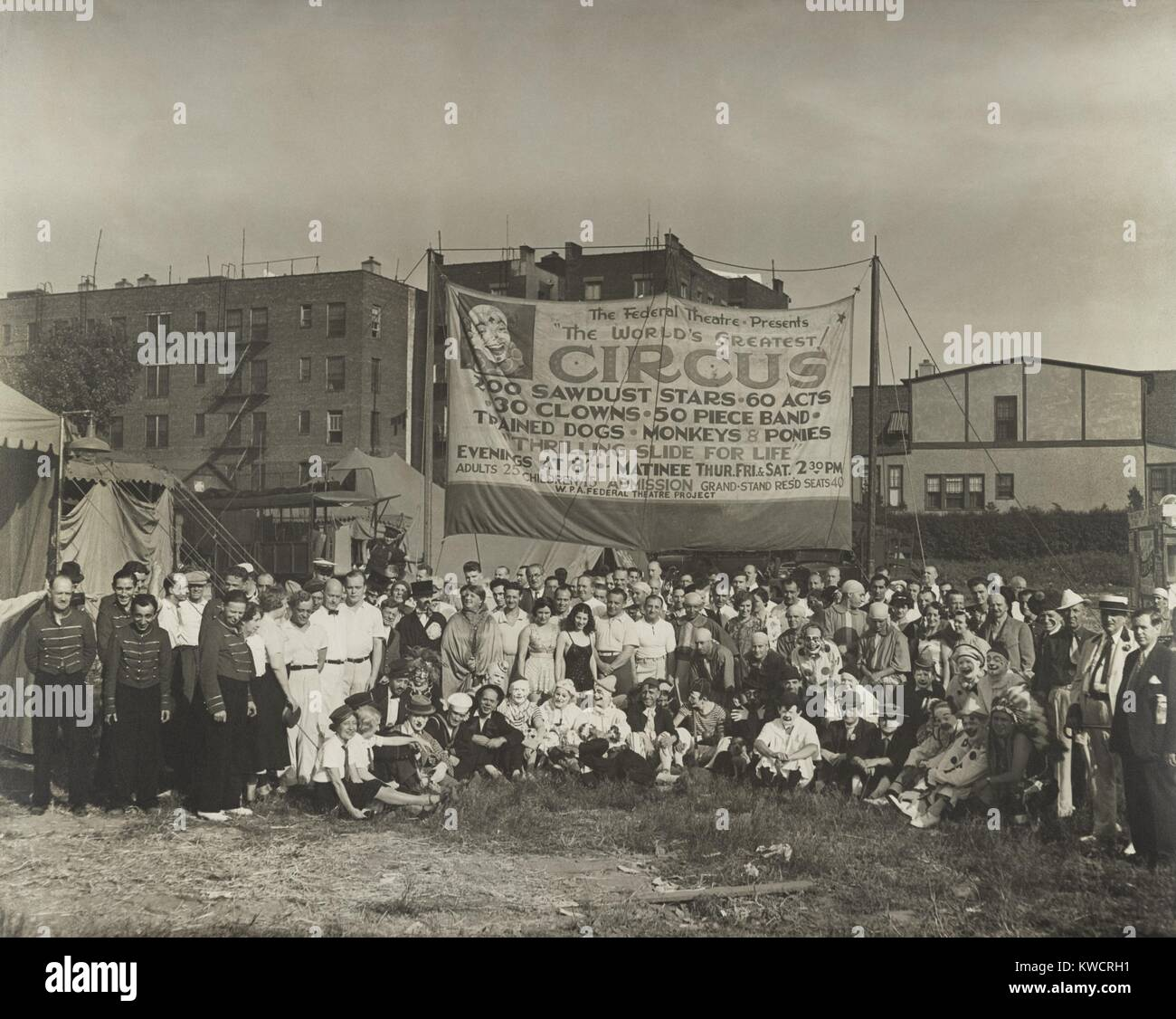 The Federal Theatre presents the world's greatest! The WPA's Federal Theater Project supported this circus - Stock Image