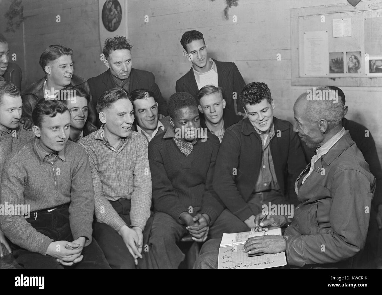 Unemployed men attending a meeting of the Workers' Alliance Council in 1936. Most are young second generation - Stock Image